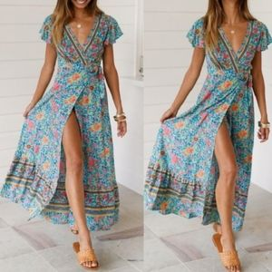 MEGANN Floral Print Dress - TEAL